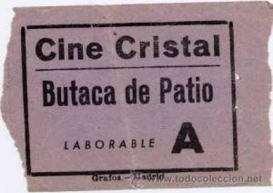 A 50-year-old cinema ticket from The Cine Cristal in Madrid, Spain. Source: www.todocolleccion.net